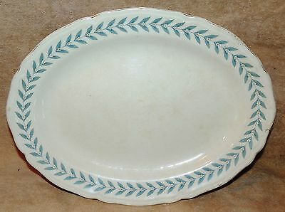 Edwin M Knowles Blue Laurel Oval Platter Serving Dish Plate Semi Vitreous