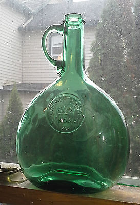 Antique Wheaton  Light Green Chestnut Grove Whiskey Bottle applied handle 1850