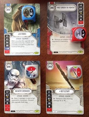 Lot of 4 Star Wars Destiny Awakenings Rare Geen Cards and Dice. Jedi Robes, etc.