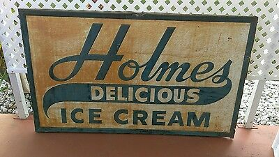 VINTAGE 1950s Holmes Ice Cream Metal Advertising Store Sign