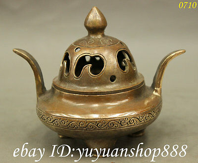 Marked Tibet Buddhist Bronze Carving Copper Statue Incense Burner Censer CN