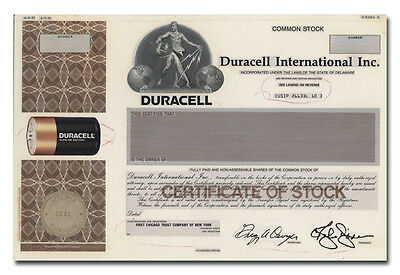 Duracell International Inc. Production Folio - American Bank Note Archives