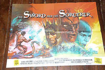Rare UK Cinema Quad Poster: THE SWORD AND THE SORCERER 1982 Brian Bysmouth