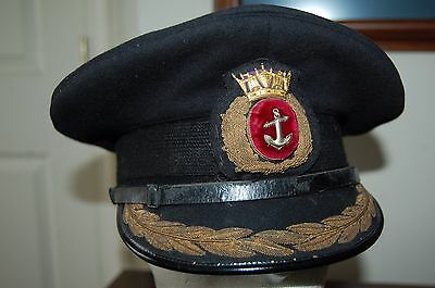 WW2 British Royal Navy Merchant Marine Officer's Visor Cap Hat