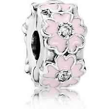 Pandora sterling silver S925 ALE  Pink Primrose with light pink  charm