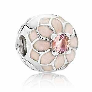 Genuine Pandora sterling silver S925 ALE  Blooming Dahlia clip with cream Charm