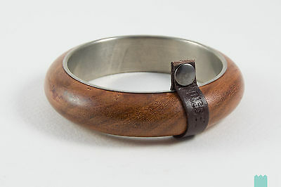 DIESEL 2-AWOODY Wood & Metal Round Bracelet With Leather Detail - From POPPRI
