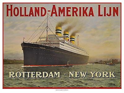 Holland America Line 1910's SS Statendam Poster 18 x 24