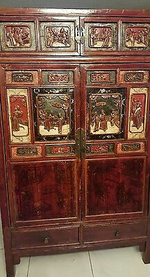 Hand Carved Oriental Wood Cabinet