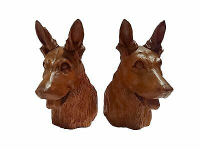 J.Pinal. Original beautifully carved Mexican Alsatian bookends signed.