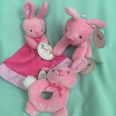 Pink Bunny Rabbit Lovey Rattle Plush Lot NEW Baby Girl Easter Basket Lot Cute