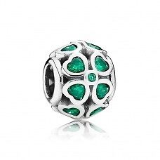 Authentic  Pandora sterling silver S925 ALE  Clover   Charm with Dark green