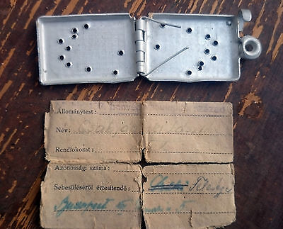 Siege Of Budapest 1944-45, Hungarian Dog Tag With Id Paper,honved Ww2 2Wk 2Gm