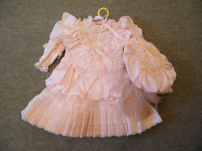 """Lovely Pale Pink Dress And Matching  Bonnet For Your Doll/ 24"""""""