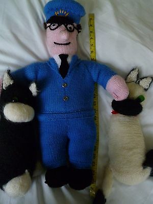 Hand Knitted Postman Pat and Jess with friend