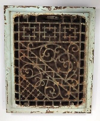 Antique Cast Iron Heat Register Vent Grate Victorian Ornate Scroll Wall 8 X 10
