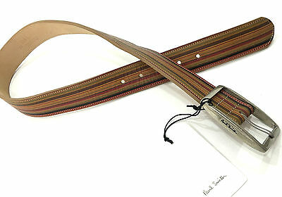 "Paul Smith Belt 28"" VINTAGE STRIPE with LARGE PEWTER BUCKLE & WHITE STITCHING"