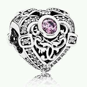Pandora sterling silver S925 ALE  Opulent Heart orchid  Charm