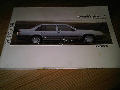 Volvo 940 Owners Manual Handbook Instruction Guide Book 1991 Model Year