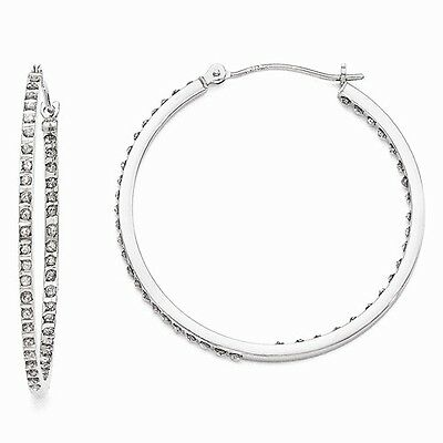 New 14K White Gold Diamond Large Inside Out In & Out Hoop Earrings 36mm x 2mm