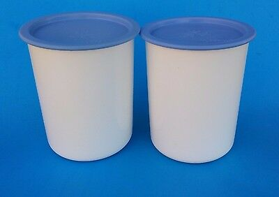 Tupperware One Touch Canisters Light Blue Seals Set of Two #2422