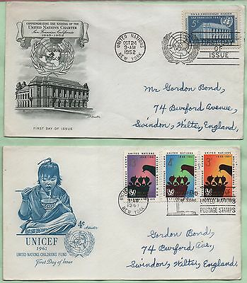 United Nations FDC's  1952 Charter and 1961 UNICEF