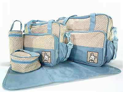 Set 5 Baby Boy Girl Diaper Tote Bag Handbag Pockets Organizer Pad Shoulder Blue
