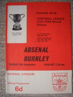 1967...ARSENAL  v  BURNLEY....League Cup 5th rd Replay........Football Programme