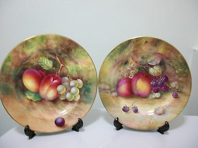 Royal Worcester Fruit Plates (2) 1922/29  Great Artists