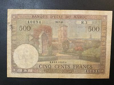1949 Morocco Paper Money - 500 Francs Banknote !