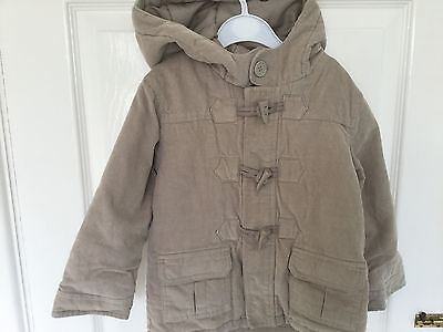 Toddler Boy Corduroy Beige Duffle Coat With Padded Lining To Fit Age 18-24 Month