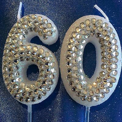 60 Silver Diamanté Birthday Candle Sixtieth Party Cake Topper 60th