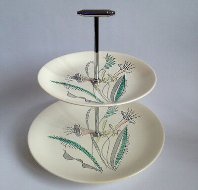Crown Devon 1930's Art Deco 2 Tier Plate Stand Hand Decorated Perfect Condition