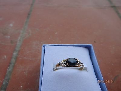 Fine Bague 0.50K Saphir/ Diamants Or Jaune 9K