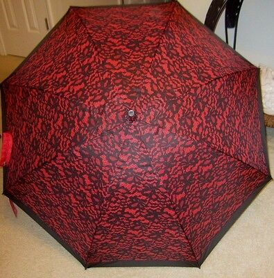 """NWT Betsey Johnson Red with Black Lace 46"""" Umbrella - Auto Open"""