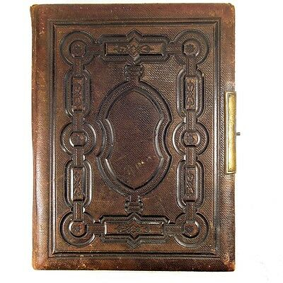 Lovely Antique Tooled Brown Leather Bound Victorian Edwardian Photograph Album