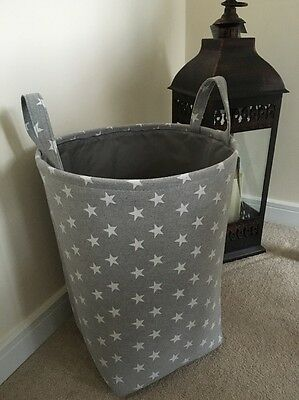 Girls Boys Grey Star Nursery Baby Laundry Clothes Toy Hamper Storage Box Tidy