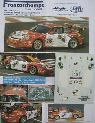 PORSCHE 997 GT3 CUP n° 110 24 H SPA 2006 DECAL1/43e FMM