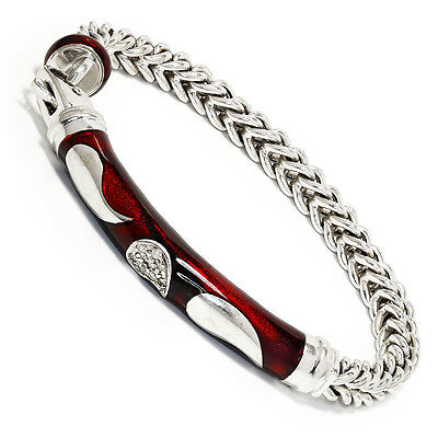 Soho Red Foliage Curb Chain Bracelet with Diamonds and Red Enamel .08ctw