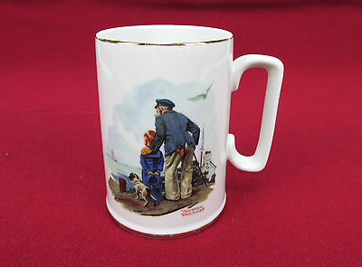 Vintage 1985 NORMAN ROCKWELL Looking Out To Sea Old Man Young Boy Mug Coffee Cup