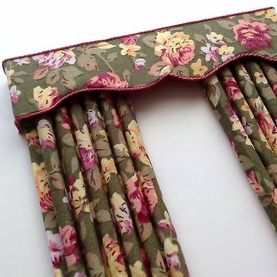 """12th SAGE GREEN with Roses Curtains For Dolls House 4.75w X 7.5"""""""