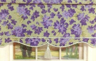 1:12 miniature BLIND for Dollshouse  10cms x 5 cms Green With Purple Violets