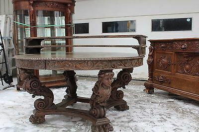 A. J Johnson Heavily Oak Carved Figural Dining Room Set Mermaids Griffin Horner