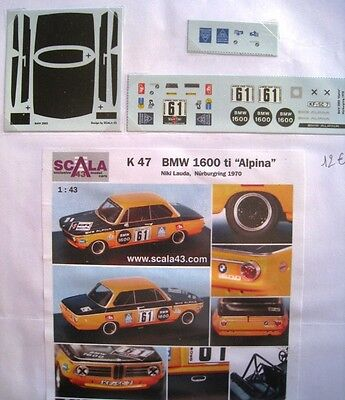 BMW 1600 Ti n° 61 NURBURGRING 1970 DECAL 1/43e SCALA 43