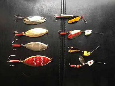 Mepps Spoons and Lusox Spinners, Dare Devil Spinner Vintage,  Walleye, Pike LOT
