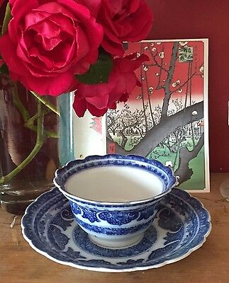 18Th C Chinese Blue & White Porcelain Tea Bowl And Saucer