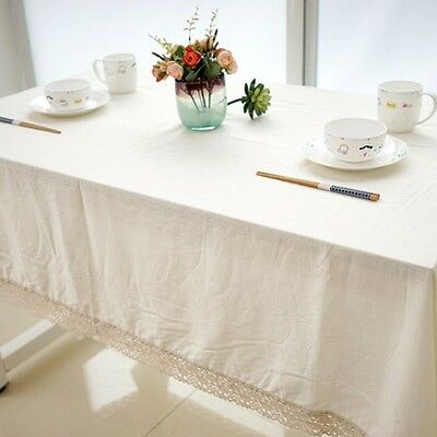 Pure White Multiple Size Linen Cotton Dining Coffee Table Cloth Cover XCS2137