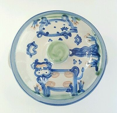 M.A. Hadley Country Blue Pig and Cow 2 Qt Casserole Dish with Cover Pottery