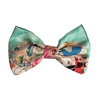 Alice in Wonderland Silk Clip on Hair Bow / Bow Tie Disney Licensed NWT
