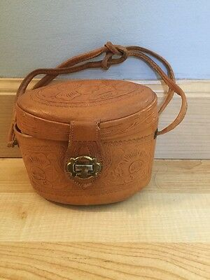 Small Tooled Leather Purse Handbag Pocketbook. For Child Or Adult Use Flowers